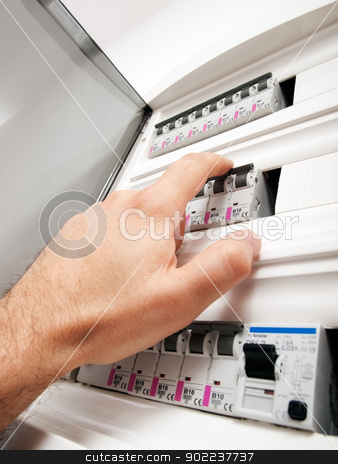 Fuses control stock photo, Closeup view of a box with automatic fuses. by Sinisa Botas
