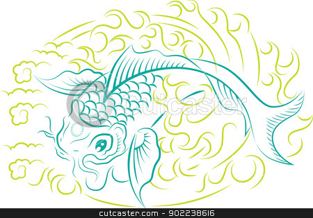 Koi Fish ornament stock vector clipart, Beautiful vector ornament with koi fish, traditional Japanese art by HypnoCreative