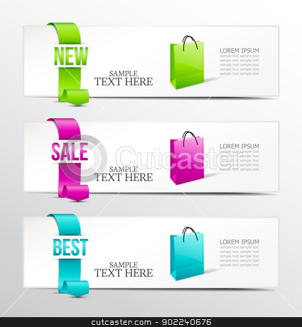 banners stock vector clipart, banners of ribbon for product description by Miroslava Hlavacova