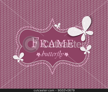 butterflies stock vector clipart, frame with butterflies on a colored background by Miroslava Hlavacova