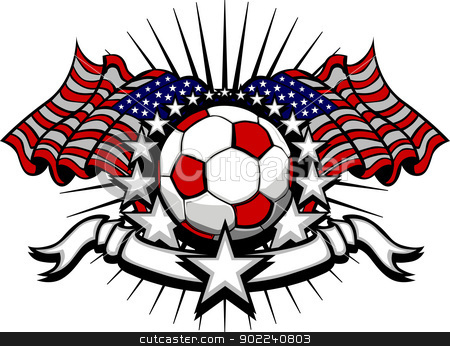 Soccer Football Vector Template with Flags and Stars stock vector clipart, Stars and Stripes Patriotic American Soccer Image with American Flags by chromaco