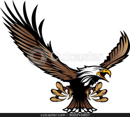 Eagle Mascot Flying with Talons and Wings stock vector clipart, Graphic Mascot Image of a Flying Eagle with wings and Talons by chromaco