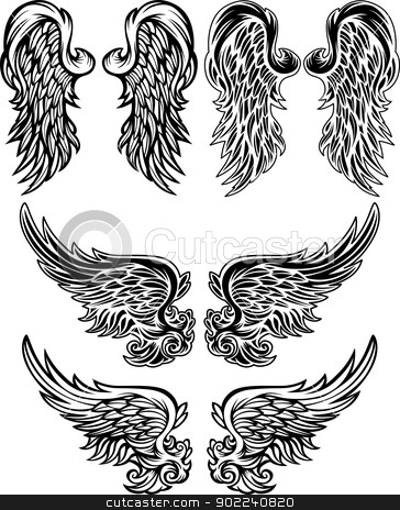 Angel Wings  Vector illustrations stock vector clipart, Wings of Angels Ornate Vector Images by chromaco