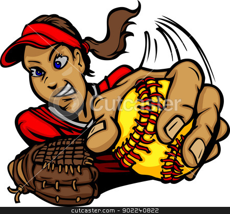 Fast Pitch Softball Pitcher Cartoon Vector Illustration stock vector clipart, Vector Cartoon of a Fastpitch Softball Player Pitching by chromaco