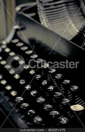old typewriter keys close up selective focus with retro colors stock photo, Antique typewriter keys close up selective focus with retro colors by Artush
