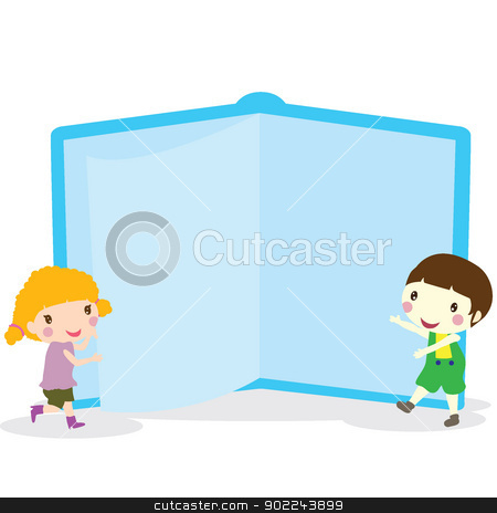 children with book stock vector clipart, two children with a blue giant book by glossygirl21