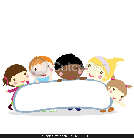children with board background stock vector clipart, five smiling little children with board background by glossygirl21