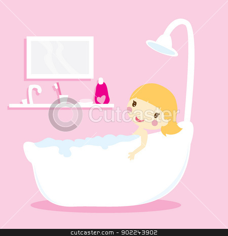 girl in bathtub stock vector clipart, girl taking a bath in a bathtub with pink background by glossygirl21