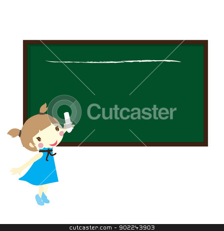 girl with black board stock vector clipart, girl holding a chalk with black board by glossygirl21