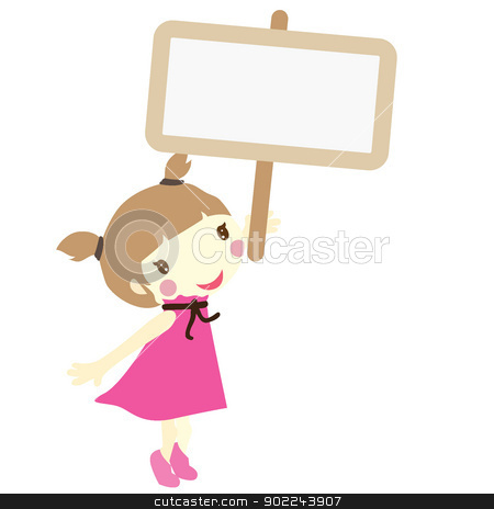 girl with signboard stock vector clipart, girl in pink holding a small empty sign board  by glossygirl21