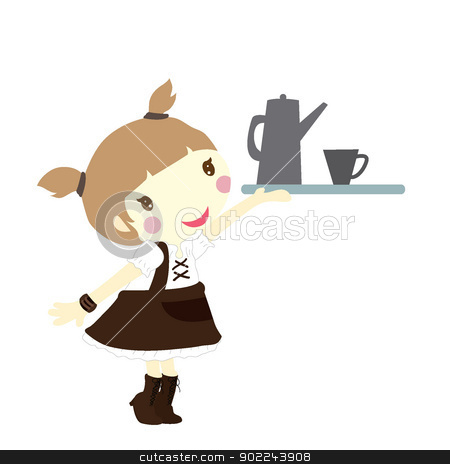 girl with tray stock vector clipart, girl with tray for restaurant, dinning and others by glossygirl21