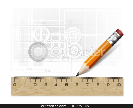 Technology blueprint abstract design stock photo, Technology blueprint abstract design with pencil and ruler by sermax55