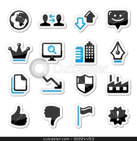 Web internet icons set - vector stock vector clipart, Modern application website black and blue labels set by Agnieszka Murphy