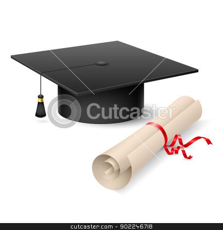Graduation cap and diploma stock photo, Graduation cap and diploma. Illustration on white background by dvarg