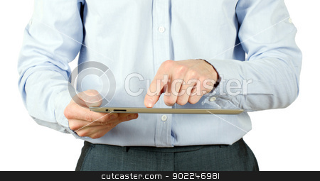 hands with tablet pc stock photo, hands with tablet computer on white by Vitaliy Pakhnyushchyy