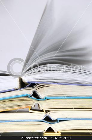 books  stock photo, Pile of books over grey by Vitaliy Pakhnyushchyy