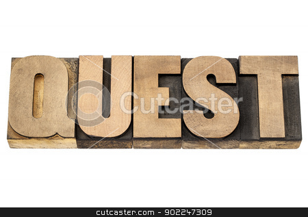 quest word in wood type stock photo, quest - isolated text in vintage letterpress wood type printing blocks by Marek Uliasz