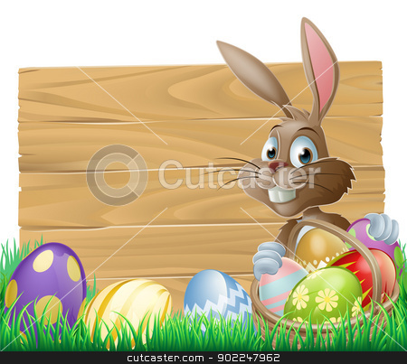 Easter background sign stock vector clipart, The Easter bunny with a basket of Easter eggs with more Easter eggs around him by a wood sign board by Christos Georghiou
