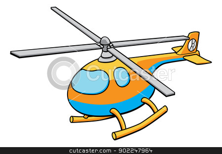 Toy Helicopter Illustration stock vector clipart, An illustration of an orange and blue cute childrens toy helicopter by Christos Georghiou