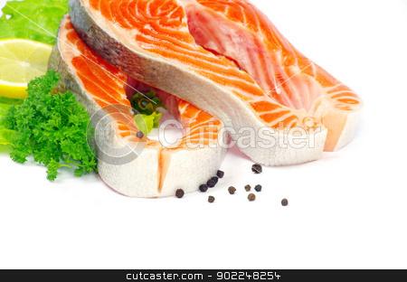 salmon  stock photo, raw salmon and spices isolated by Vitaliy Pakhnyushchyy