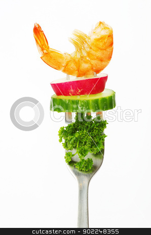 food on a fork  stock photo, food on a fork isolated on white background by Vitaliy Pakhnyushchyy