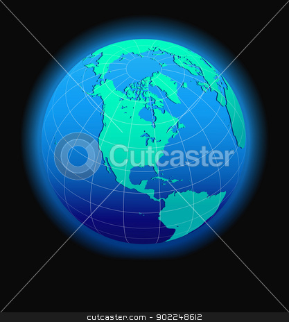 North, South, and Central AMERICA, Global World in Space stock vector clipart, Vector Map Icon of the world in Globe form by Fenton