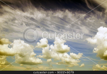 clouds stock photo, Blue sky background with tiny clouds by Vitaliy Pakhnyushchyy