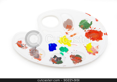 pallette  stock photo, Painters white pallette and paints on white by Vitaliy Pakhnyushchyy