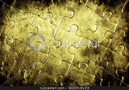 gold puzzles stock photo, Puzzles for background. business concept by Vitaliy Pakhnyushchyy