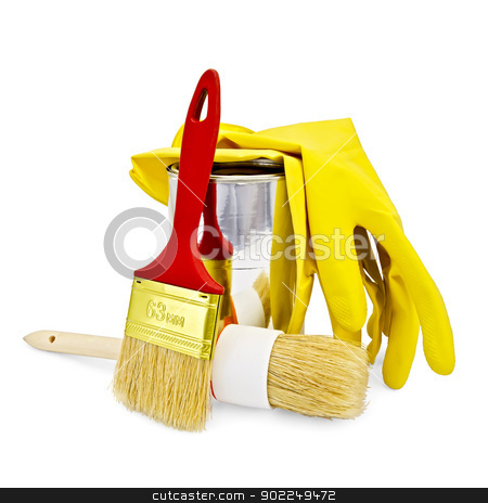 Brushes of various sizes with yellow gloves and a jar stock photo, Two brushes of different sizes with yellow gloves and a jar isolated on white background by rezkrr