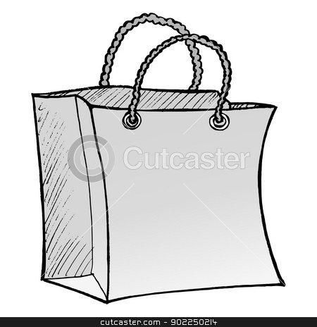 shopping bag stock vector clipart, hand drawn, vector, sketch illustration of shopping bag by Oleksandr Kovalenko