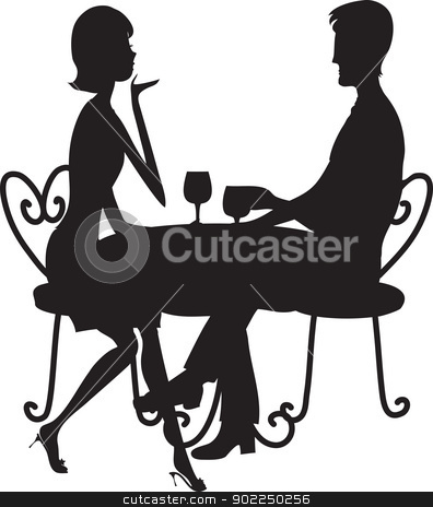 Couple Silhouette stock vector clipart, A couple in silhouette sitting at a table, conversing and drinking from stemmed glasses. by Maria Bell