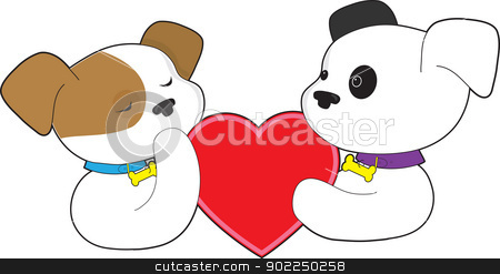 Puppies and Heart stock vector clipart, Two puppies, one with eyes closed and the other with eyes open, hold a large red heart between them. by Maria Bell