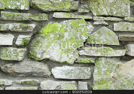 old stone wall stock photo, old stone wall covered with green moss by coroiu octavian