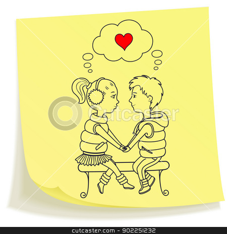 Sticky note with drawn teens couple in love stock vector clipart, Sticky note with drawn boy and girl holding hands sitting at the bench by Allaya