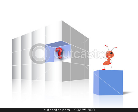 Missing Piece With Ant stock vector clipart, A glossy white cube made of 3d boxes - one blue piece is aside and on it there is a confused ant by ANTONIOS KARVELAS