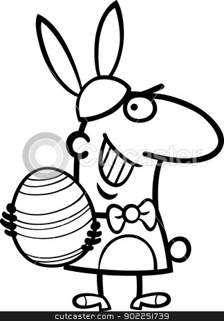 man in easter bunny costume cartoon stock vector clipart, Black and White Cartoon Illustration of Funny Man in Easter Bunny Costume with Easter Egg in his Hands for Coloring Book by Igor Zakowski