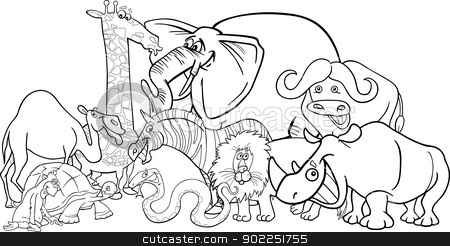 african safari animals cartoon for coloring stock vector clipart, Black and White Cartoon Illustration of Funny African Safari Wild Animals Group for Coloring Book by Igor Zakowski