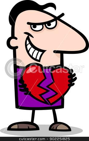 man breaking heart cartoon illustration stock vector clipart, Cartoon St Valentines Illustration of Funny Man Breaking Heart or Heartbreaker by Igor Zakowski