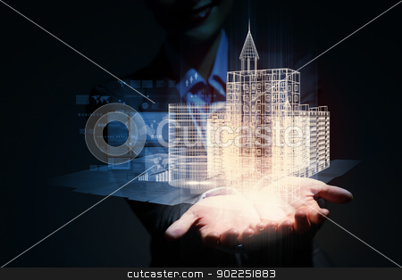 engineering automation building design stock photo, Engineering automation building designing. Construction industry technology by Sergey Nivens