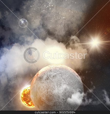Image of planets in space stock photo, Image of planets in fantastic space against dark background by Sergey Nivens