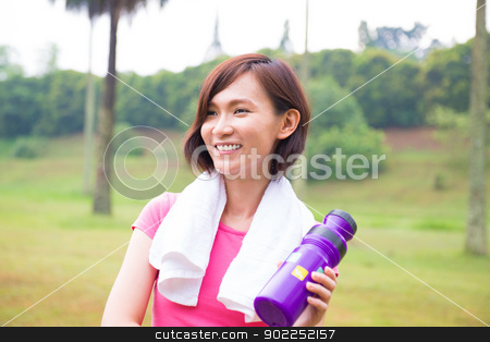 Sporty Asian girl stock photo, Asian girl taking a rest after jogging at outdoor park by szefei