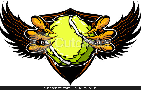 Eagle Tennis Talons and Claws Vector Illustration  stock vector clipart, Graphic Vector Image of a  Eagle Claws or Talons Holding Tennis Ball  by chromaco