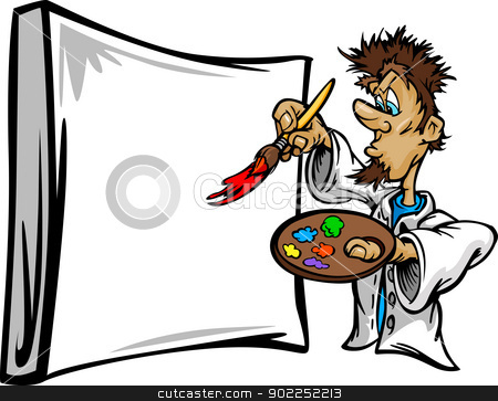 Artistic Painter Painting Canvas Cartoon Vector Illustration stock vector clipart, Cartoon Vector Image of a creative Artist Painter Holding a Paint Brush to a Canvas by chromaco