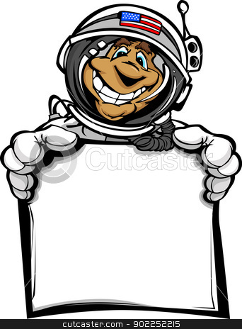 Happy Astronaut Spaceman with Sign Cartoon Vector Illustration stock vector clipart, Cartoon Vector Image of a Happy Astronaut Spaceman Head Holding a Sign  by chromaco