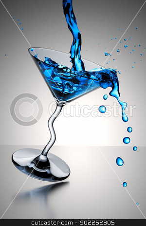 cocktail glass splash stock photo, An image of a nice blue cocktail glass splash by Markus Gann
