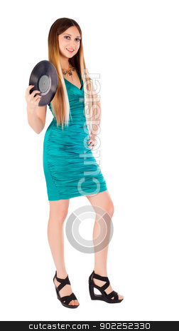 Pretty girl holding vinyl disc stock photo, Young beautiful woman holding musical disc. Isolated on white by Aikon