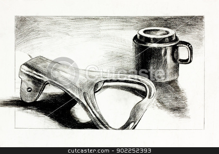 Bottle opener and cup stock photo,  Original pencil  or drawing charcoal, and  hand drawn painting or  working  sketch of a bottle opener and a cup or mug.Free composition by borojoint