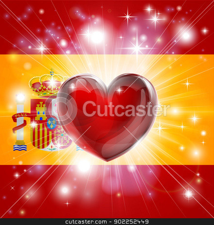 Love Spain flag heart background stock vector clipart, Flag of Spain patriotic background with pyrotechnic or light burst and love heart in the centre by Christos Georghiou