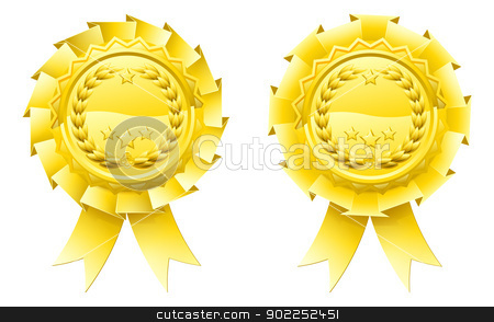 Gold winners laurel rosettes stock vector clipart, Golden winners laurel rosettes with laurel wreath and stars in the centre and ribbon hanging down by Christos Georghiou